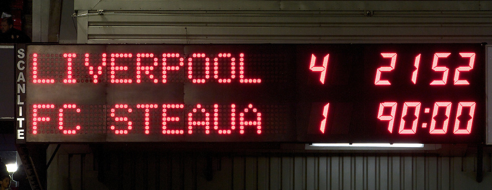 LIVERPOOL, ENGLAND - Thursday, September 16, 2010: Liverpool's Anfield scoreboard records a 4-1 victory over FC Steaua Bucuresti during the opening UEFA Europa League Group K match at Anfield. (Photo by David Rawcliffe/Propaganda)
