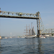 Tall ship Gazela passes under the raised Memorial Bridge as it sails up the Piscataqua River in Portsmouth, NH