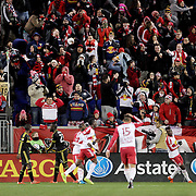 Heatbreak for New York Red Bulls players and fans as a 94th minute header from Bradley Wright-Phillips hits the foot of the post and is cleared. New York Red Bulls won the game 1-0 but lost 2-1 on aggregate during the New York Red Bulls Vs Columbus Crew SC, Major League Soccer Eastern Conference Championship, second leg, at Red Bull Arena, Harrison, New Jersey. USA. 29th November 2015. Photo Tim Clayton