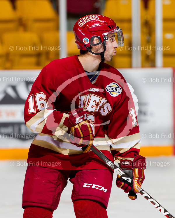 13 January  2012:  Kody Dhaliwal (16) of the Chiefs  during a game between the Chilliwack Chiefs and the Prince George Spruce Kings.  Prospera Centre, Chilliwack, BC.    ****(Photo by Bob Frid/Freemotionphotography.ca) All Rights Reserved : cell 778-834-2455 : email: bob.frid@shaw.ca ****