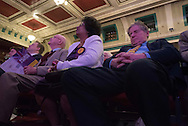 Winter Gardens, Margate, Kent, UK. 27th February 2015. UKIP rally its supporters at its spring conference today in Thanet with just two months before voters head to the polls in the UK general elections. Hundreds of activists and members attend the two-day conference at Margate's Winter Gardens, which party chiefs hope will provide a springboard for its general election campaign. Pictured: A UKIP delegate has an afternoon nap during the conference. // Lee Thomas, Flat 47a Park East Building, Bow Quarter, London, E3 2UT. Tel. 07784142973. Email: leepthomas@gmail.com. www.leept.co.uk