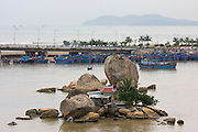 Fishing Harbour at the mouth of Cai River. To Tran Phu Bridge, island with temple.