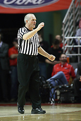 12 January 2013: Referee Hal Lusk makes a call to the table during an NCAA Missouri Valley Conference mens basketball game Where the Bulldogs of Drake University beat the Illinois State Redbirds 82-77 in Redbird Arena, Normal IL