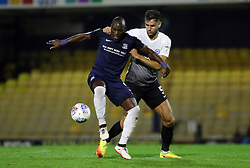 Ryan Tafazolli of Peterborough United gets to grips with Marc-Antoine Fortune of Southend United - Mandatory by-line: Joe Dent/JMP - 17/10/2017 - FOOTBALL - Roots Hall - Southend-on-Sea, England - Southend United v Peterborough United - Sky Bet League Two