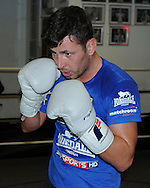 Picture by Alan Stanford/Focus Images Ltd +44 7915 056117<br /> 30/09/2013<br /> IBF World Middleweight Champion Darren Barker during a media workout at Gator ABC, Hainault, Essex.