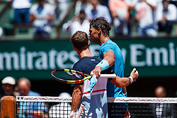 June 7, 2018 - Paris, U.S. - PARIS, FRANCE - JUN 07: DIEGO SEBASTIAN SCHWARTZMAN (ARG) and RAFAEL NADAL (ESP) during day twelve match of the 2018 French Open 2018 on June 7, 2018, at Stade Roland-Garros in Paris, France. (Photo by Chaz Niell/Icon Sportswire) (Credit Image: © Chaz Niell/Icon SMI via ZUMA Press)