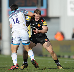 Sam Hill of Exeter Chiefs tackles Giamba Venditti of Newcastle Falcons.  - Mandatory byline: Alex Davidson/JMP - 12/03/2016 - RUGBY - Sandy Park -Exeter Chiefs,England - Exeter Chiefs v Newcastle Falcons - Aviva Premiership