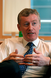 UK ENGLAND LONDON 24NOV04 - Group Chief Executive of the Royal Bank of Scotland Group, Sir Fred Goodwin reacts during an interview in his London office. Sir Fred is best known in the city as 'Fred the Shred' after cutting 18,000 jobs at National Westminster Bank after their hostile takeover by the RBS.....jre/Photo by Jiri Rezac ....© Jiri Rezac 2004....Contact: +44 (0) 7050 110 417..Mobile:  +44 (0) 7801 337 683..Office:  +44 (0) 20 8968 9635....Email:   jiri@jirirezac.com..Web:    www.jirirezac.com....© All images Jiri Rezac 2004 - All rights reserved.