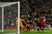 Football - 2019 / 2020 UEFA Champions League - Round of Sixteen, Second Leg: Liverpool (0) vs. Atletico Madrid (1)<br /> <br /> Liverpool's Andy Robertson hits the crossbar, at Anfield.<br /> <br /> <br /> COLORSPORT/TERRY DONNELLY