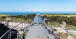 24.06.2016, Audinghen, FRA, Museum der Batterie Todt am Atlantikwall, im Bild das K 5-Eisenbahngeschütz im Aussenbereich // The Todt Battery is a battery of coastal artillery built by the Germans in World War II. It was one of the most important coastal fortifications of the Atlantic Wall, and consisted of four 380 mm calibre Krupp guns with a range up to 55.7 km, capable of reaching the British coast, and each protected by a bunker of reinforced concrete, Audinghen, France on 2016/06/24. EXPA Pictures © 2016, PhotoCredit: EXPA/ JFK