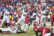 FAYETTEVILLE, AR - NOVEMBER 22:  Alex Collins #3 of the Arkansas Razorbacks runs the ball against the Ole Miss Rebels at Razorback Stadium on November 22, 2014 in Fayetteville, Arkansas. The Razorbacks defeated the Rebels 30-0.   (Photo by Wesley Hitt/Getty Images) *** Local Caption *** Alex Collins