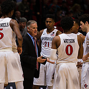 03 February 2018: The San Diego State Aztecs look to rebound after a couple losses against Air Force Saturday night. San Diego State Aztecs head coach Brian Dutcher talks with his team during a timeout in the second half. The Aztecs beat the Falcons 81-50 at Viejas Arena.<br /> More game action at www.sdsuaztecphotos.com
