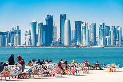MIA Park cafe  and skyline of Doha in Qatar