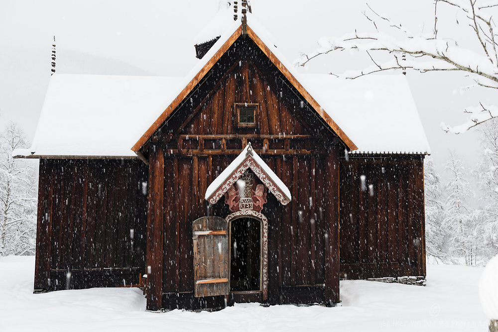 Nore Kirke in the snow
