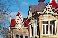 Russie, Fédération de Tomsk, Tomsk, architecture de bois du XIXè siècle, la maison du Paon sur Krasnoarmeiskaia avenue // Russia, Tomsk Federation, Tomsk, wooden architecture, the Peacock house on Krasnoarmeiskaia avenue