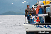guests on charter recreational fishing boat fish for salmon sharks, Lamna ditropis, Port Fidalgo, Prince William Sound, Alaska, U.S.A.