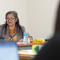 Founding Director Gloria Ann Begay, of the Diné Food Sovereignty Alliance (DFSA), explains to the groups which areas are needing help during the Farm to School Initiative in Crownpoint Wednesday.