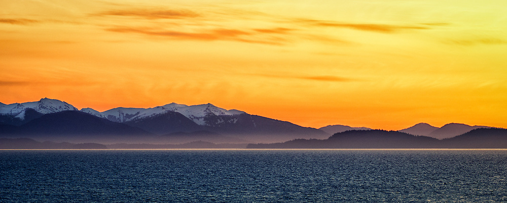 Just before sunrise over Vancouver Island, Canada