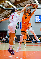 21-11-2018 NED: Netherlands - Bulgaria, Amsterdam<br /> Qualify FIBA Women's EuroBasket 2019 at Sporthallen Zuid Amsterdam / Group Phase Group F, Final Score 89-68 / Lisanne de Jonge #26 of Netherlands, Iva Kostova #7 of Bulgaria