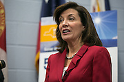 New York State Lieutenant Governor Kathy Hochul speaks with the media after the graduation ceremony for Solar Ready Veterans at Fort Drum on Wednesday, February 17, 2016.