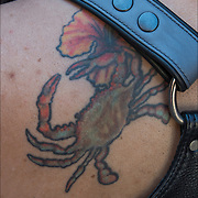 Tattoo of Crab the symbol of Cancer.<br /> <br /> Crab is the 4th sign of zodiac in astrology.<br /> Body art or tattoos has entered the mainstream it is no longer considered a weird kind of subculture.<br /> <br /> &quot;According to a 2006 Pew survey, 40% of Americans between the ages of 26 and 40 have been tattooed&quot;.