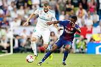 Real Madrid's Karim Benzema (l) and FC Barcelona's Nelson Semedo during Supercup of Spain 2nd match. August 16,2017. (ALTERPHOTOS/Acero)