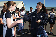 ANZ packs are handed out to Southbridge Netball Club during the ANZ Championship Roadshow, Win a Warmup, held at the Selwyn Netball Centre, Lincoln. 17 May 2014 Photo: Joseph Johnson/www.photosport.co.nz