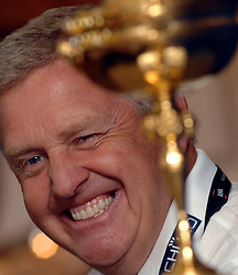 ©  licensed to London News Pictures. . UK.20/05/2011    Today.Colin Montgomerie Ryder Cup winning Captain with the trophy at Golf Live Event, held at The London Golf Club,Ash, Kent, just before giving his Monty's Masterclass..Please see special instructions..Picture credit should read Grant Falvey/LNP......