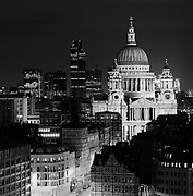 black and white dusk photograph of Saint Paul's Cathedral, London