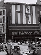 HMV Shop on Bond Street with Bruce Springsteen banner, London, UK, November 1986