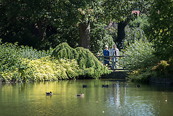 © Licensed to London News Pictures. 23/08/2016. Wisley, UK.  Visitors enjoy a view of the lake in the sunshine at RHS Wisley. Photo credit: Peter Macdiarmid/LNP