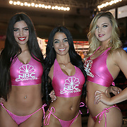 "The Capristan ring girls pose for a photo prior to the Orlando ""El Fenomeno""  Cruz versus Gabino ""Flash"" Cota  Boxeo Telemundo WBO/NABO Super Featherweight bout on Friday, October 9, 2015 at the Kissimmee Civic Center in Kissimmee, Florida. Cruz, who is from Puerto Rico, is the first ever openly gay boxer  in the history of the sport and won the bout. (Alex Menendez via AP)"