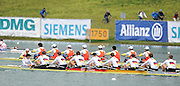 Munich, GERMANY, GER M8+ rowing towards the finishing line to win the men's eights final at the 2010 FISA World Cup. Munich Olympic Rowing Course, Sunday  20/06/2010   [Mandatory Credit Peter Spurrier/ Intersport Images]