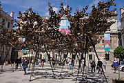 Sculptor Conrad Shawcross's canopy of welded-steel clouds artwork entitled The Dappled Light of the Sun, in the Annenberg Courtyard outside the Royal Academy for the 2015 Summer Show.