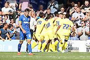 Sid Nelson equalises in the last minute in the Friendly match between AFC Wimbledon and Millwall at the Cherry Red Records Stadium, Kingston, England on 18 July 2015. Photo by Stuart Butcher.