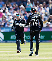 Cricket - 2019 ICC Cricket World Cup - Group Stage: England vs. NZ<br /> <br /> Mitchell Satner of New Zealand catches from Matt Henry of New Zealand to put out Eoin Morgan of England, at the Riverside, Chester-le-Street, Durham.<br /> <br /> COLORSPORT/BRUCE WHITE
