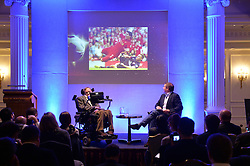 Professor Stephen Hawking reveals the findings of 'A Brief History of How England Can Win The World Cup' a study commissioned by Paddy Power at The Savoy, London, UK.<br /> <br /> Professor Stephen Hawking reveals some of the findings of his study during a presentation.<br /> <br /> Wednesday, 28th May 2014. Picture by Ben Stevens / i-Images