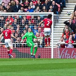 Marouane Fellaini of Manchester United heads in the opening goal past a helpless Viktor Valdes - Middlesborough Goalkeeper.Middlesborough v Manchester United, Barclays English Premier League, 19th March 2017. (c) Paul Cram | SportPix