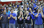 The Benton Community student section cheers during their Rivalry Saturday game at Washington High School at 2205 Forest Drive SE in Cedar Rapids on Saturday, January 21, 2012. (Stephen Mally/Freelance)