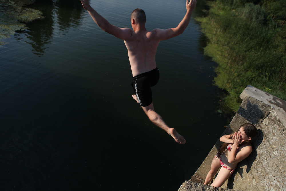 Liberland Settlement Association member Tim Proto jumping in the Bezdan Canal, Serbia