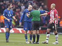 Photo: Alan Crowhurst. <br /> Southampton v Arsenal, 26/02/2005, Barclays Premiership. Arsenal's Freddie Ljungberg remonstrates with referee Alan Whiley after the final whistle.