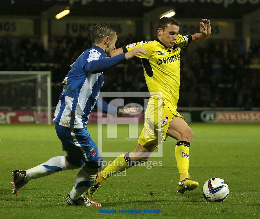 Picture by Paul Gaythorpe/Focus Images Ltd +447771 871632.07/11/2012.Neil Austin of Hartlepool United and James Wallace of Tranmere Rovers during the npower League 1 match at Victoria Park, Hartlepool.