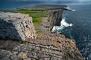 Stone Walls along the cliffs  on Inis Mor at Dun Aengus Fort in the Aran Islands, Ireland