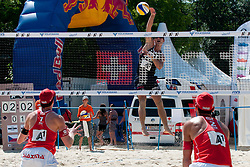 Jan Dumek of Czech Republic vs Philip Gabathuler and Jan Schnider of Switzerland at A1 Beach Volleyball Grand Slam tournament of Swatch FIVB World Tour 2011, on August 3, 2011 in Klagenfurt, Austria. (Photo by Matic Klansek Velej / Sportida)