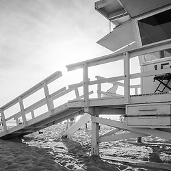 Lifeguard Tower 15 at Santa Monica Beach in Southern California. Photo is black and white in high resolution. Copyright ⓒ 2017 Paul Velgos with All Rights Reserved.