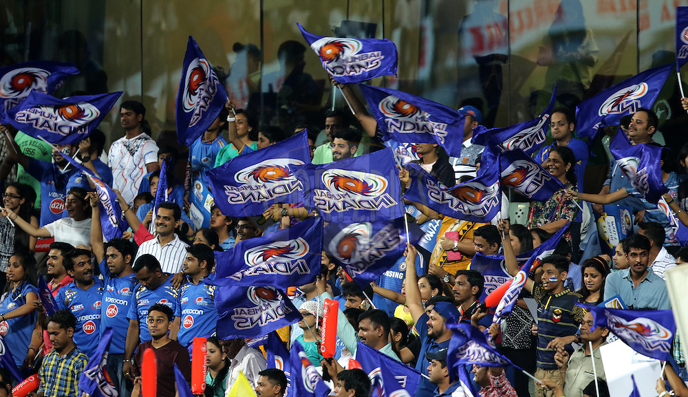 Mumbai Indian fans during match 1 of the Vivo Indian Premier League ( IPL ) 2016 between the Mumbai Indians and the Rising Pune Supergiants held at the Wankhede Stadium in Mumbai on the 9th April 2016<br /> <br /> Photo by Rahul Gulati/ IPL/ SPORTZPICS