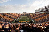 October 15, 2011: Kinnick Stadium is striped black and gold on Spirit Day before the start of the NCAA football game between the Northwestern Wildcats and the Iowa Hawkeyes at Kinnick Stadium in Iowa City, Iowa on Saturday, October 15, 2011. Iowa defeated Northwestern 41-31.