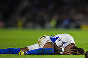 Gaetan Bong (Brighton) injured following a collision with Phil Bardsley (Burnley) during the Premier League match between Brighton and Hove Albion and Burnley at the American Express Community Stadium, Brighton and Hove, England on 9 February 2019.
