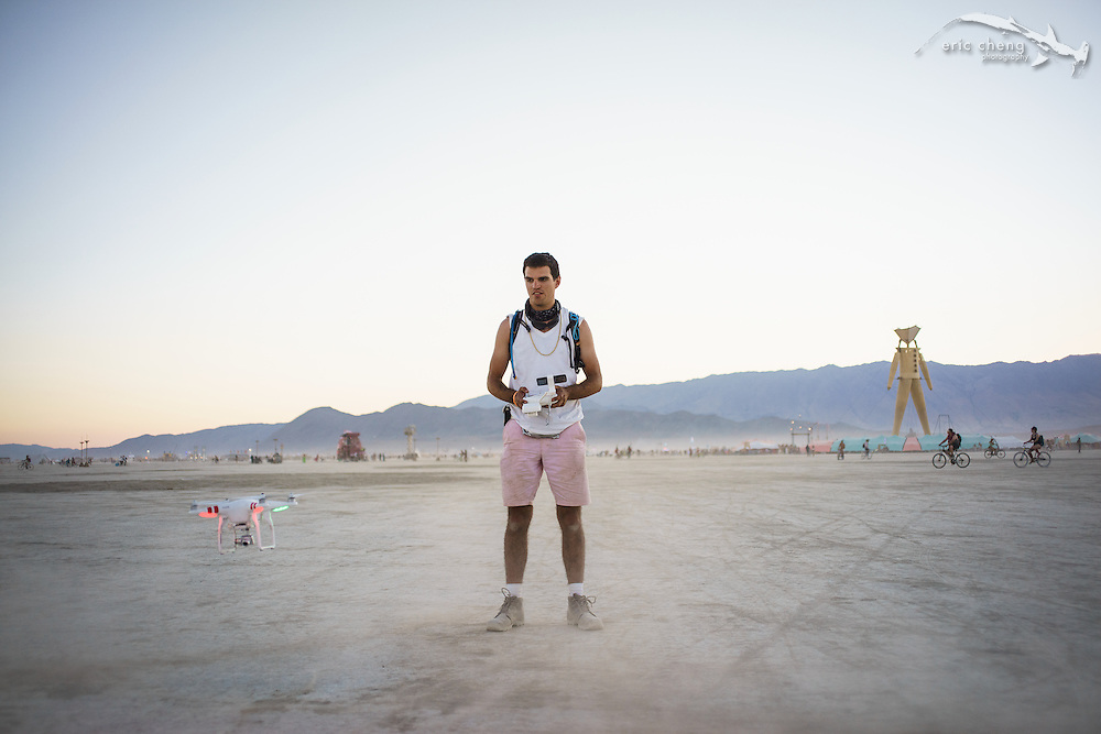 Niels Joubert flies a Phantom 2 Vision+ at Burning Man 2014.