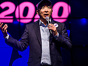 28 APRIL 2019 - DES MOINES, IOWA: ANDREW YANG speaks to attendees at a Town Hall event in Des Moines. Yang, an entrepreneur, is one of 20 Democrats running for the Democratic nomination for the US Presidency in 2020. Iowa hosts the the first election event of the presidential election cycle. The Iowa Caucuses will be on Feb. 3, 2020.                 PHOTO BY JACK KURTZ